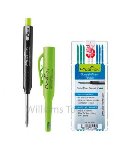 Pica Dry Graphite Automatic Pen/Pencil 3030 + 4040 REFILL Water Jet Resistant White Blue Green pk8